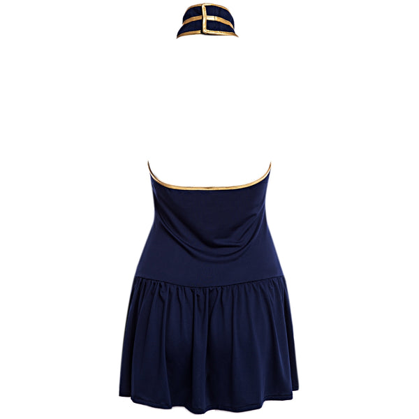 Stewardess Cosplay Halter Off-the-shoulder Hollow Out Stripe Pleated Color Block Mini Sexy Uniform w