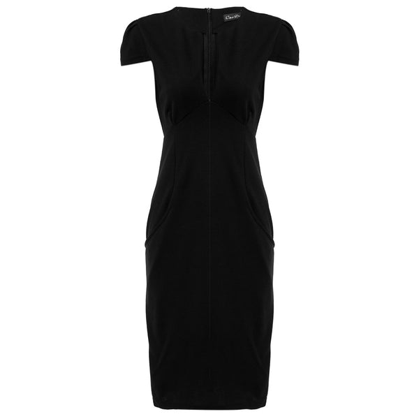 Sexy V-neck Short Sleeve Back Zipper with Pocket Patchwork Sheath Pure Color Mid-calf Dress for Wome