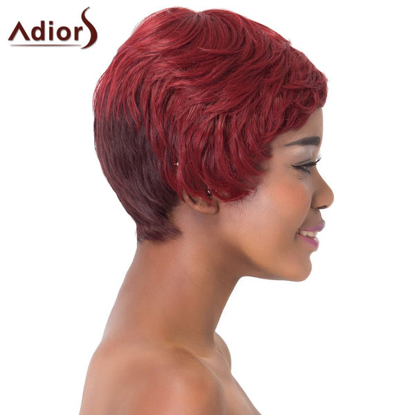 Spiffy Short Haircut Capless Fluffy Natural Straight Wine Red Ombre Synthetic Adiors Wig For Women