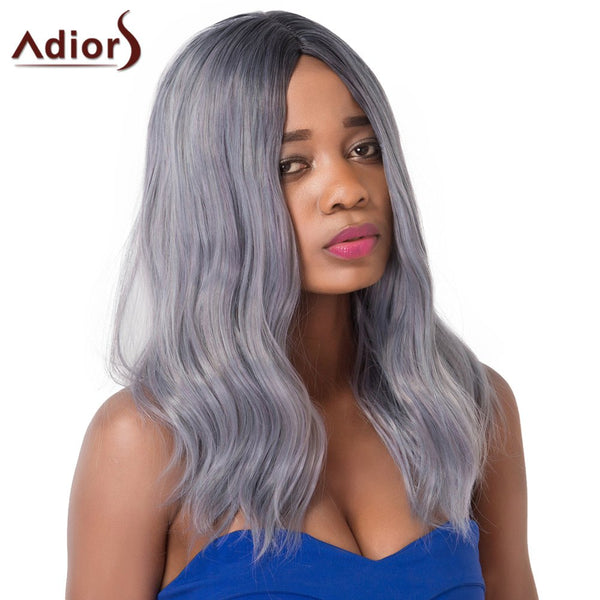 Chic Mixed Color Fluffy Medium Wave Centre Parting Synthetic Adiors Wig For Women