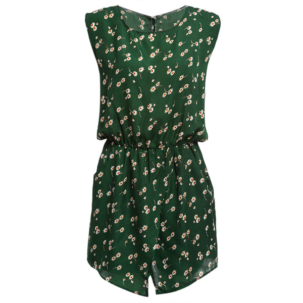 Refresh Round Collar Sleeveless Hollow Out Elastic Waist Pocket Floral Print Romper for Women