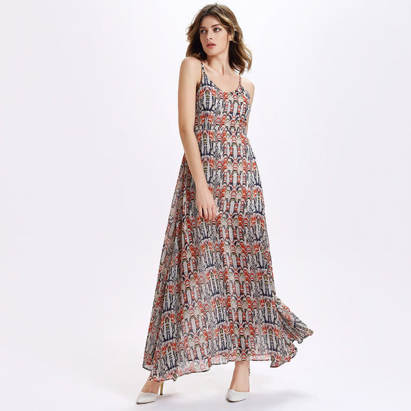 Chic Women's Spaghetti Strap Furcal Printed Dress