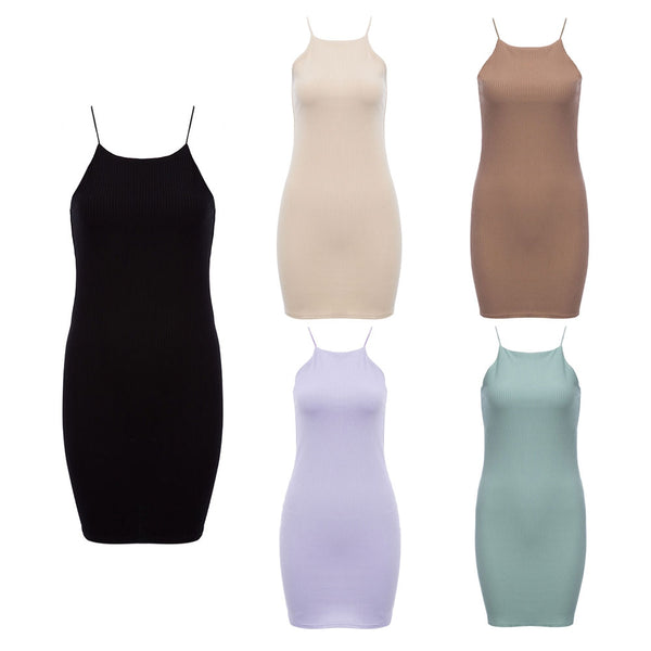 Sexy Spaghetti Strap Bodycon Knit Mini Dress for Women