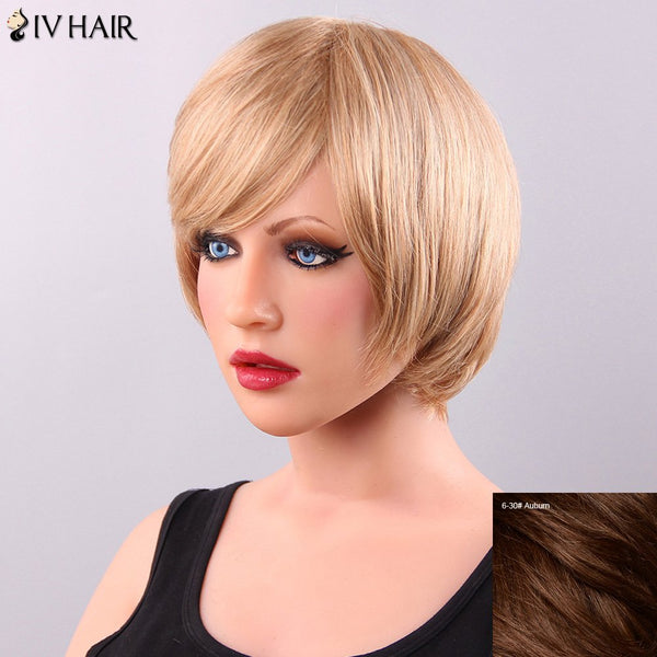 Exquisite Short Straight Side Bang Siv Human Hair Wig For Women