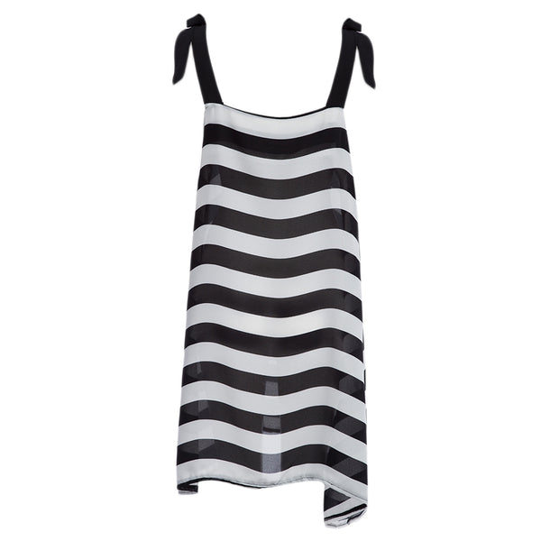 Casual Lace-up Striped Loose Mini Sundress for Women