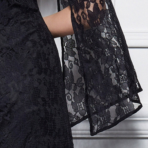 Elegant Round Collar Flare Sleeve Lace Sash Waist Black Maxi Party Dress for Women