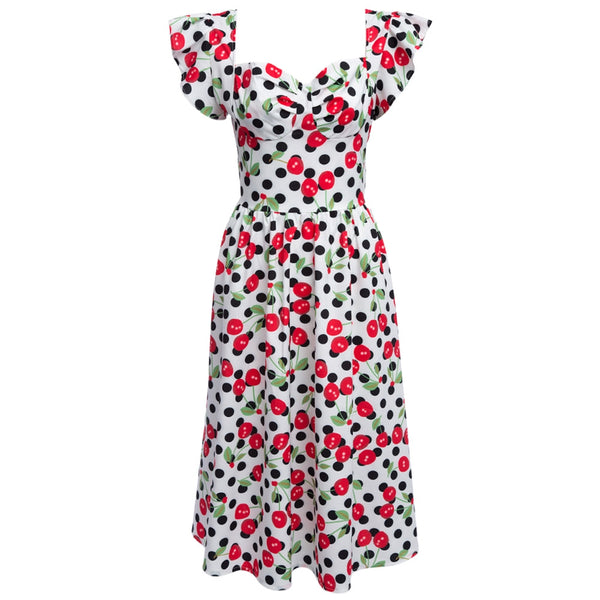 Vintage Scoop Collar Floral Flounced A-Line Dress for Women