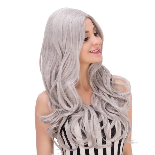 Long Attractive Wavy Side Parting Gray Mixed Cosplay Lolita Synthetic Wig