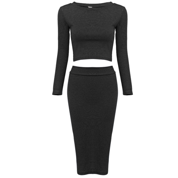 Round Collar Long Sleeve Two Pieces Knitted Sheathy Dress for Ladies