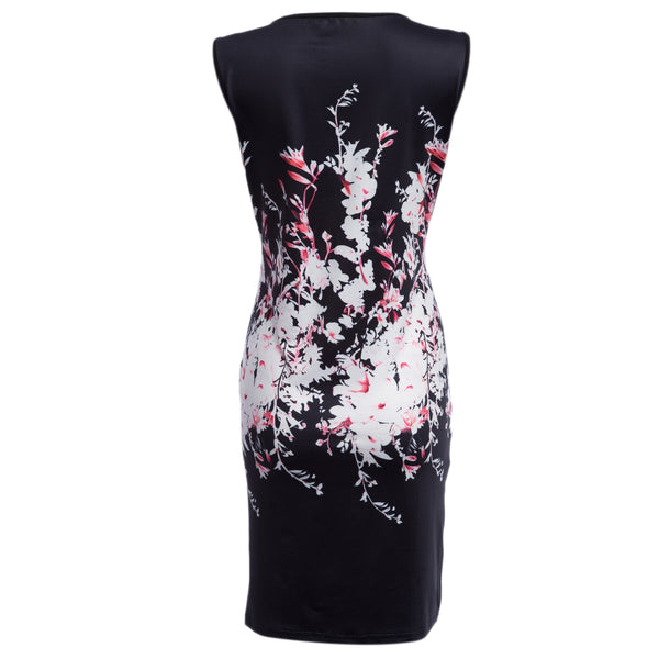 Vintage Round Collar Floral Skinny Knee Length Dress for Women