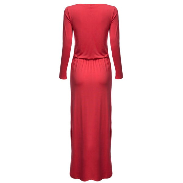 Chic Round Collar Long Sleeve Waist Pure Color Dress with Belt
