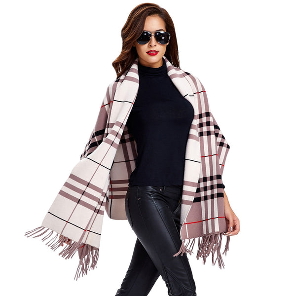 Batwing Sleeves Plaid Fringed Cape Cardigan