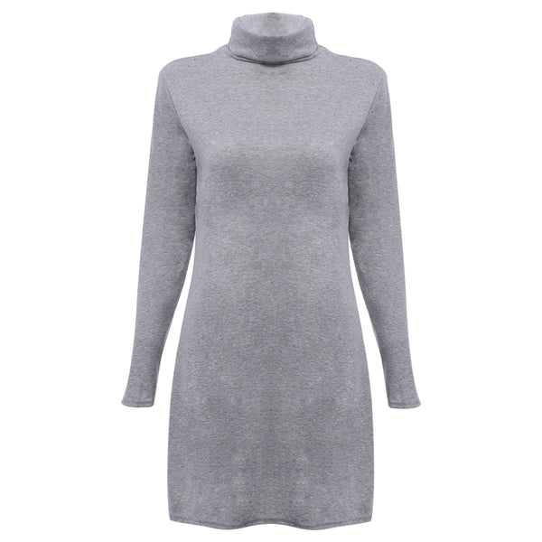 Stylish Turtleneck Long Sleeve Pure Color Elastic Knitted Warm Slit Dress for Ladies