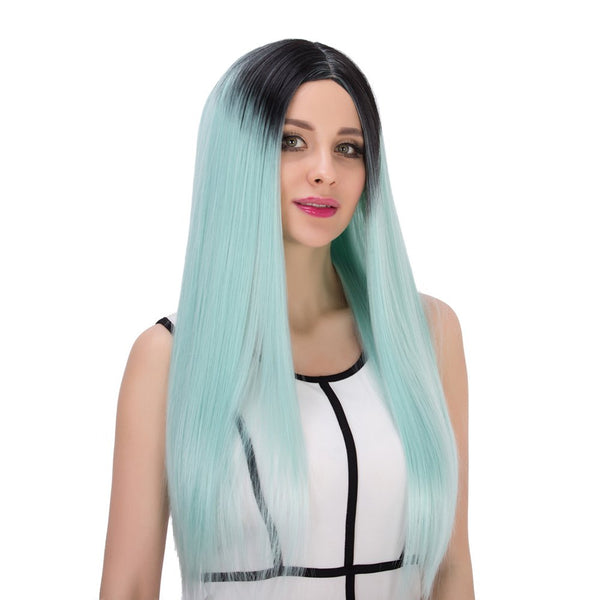 Double Color Long Centre Parting Straight Stunning Cosplay Synthetic Wig
