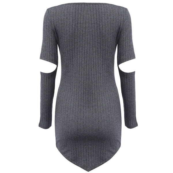Sexy Round Collar Pure Color Hole Design Knitted Bodycon Sheath Mini Dress for Ladies