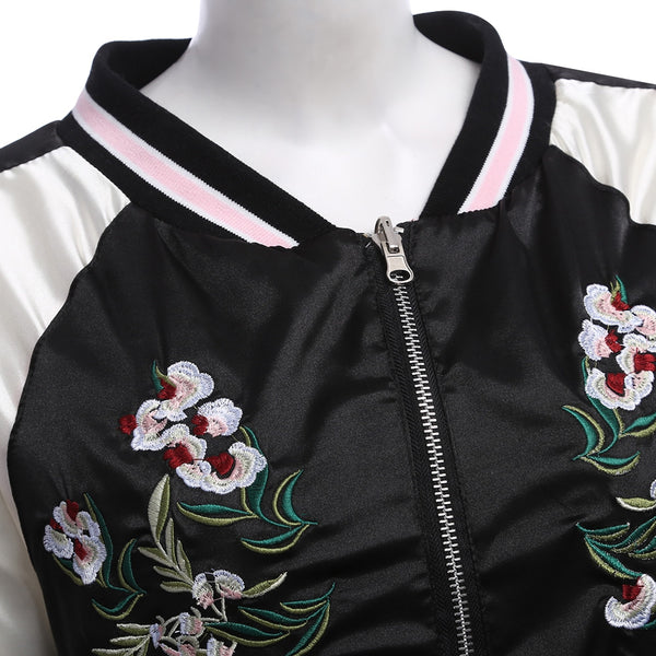 Chic Round Collar Elastic Sleeve Hem Embroidery Zipper Type Women Baseball Coat