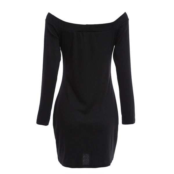 Sexy Off The Shoulder Long Sleeve Pure Color Knitted Zipper Type Mini Dress for Ladies