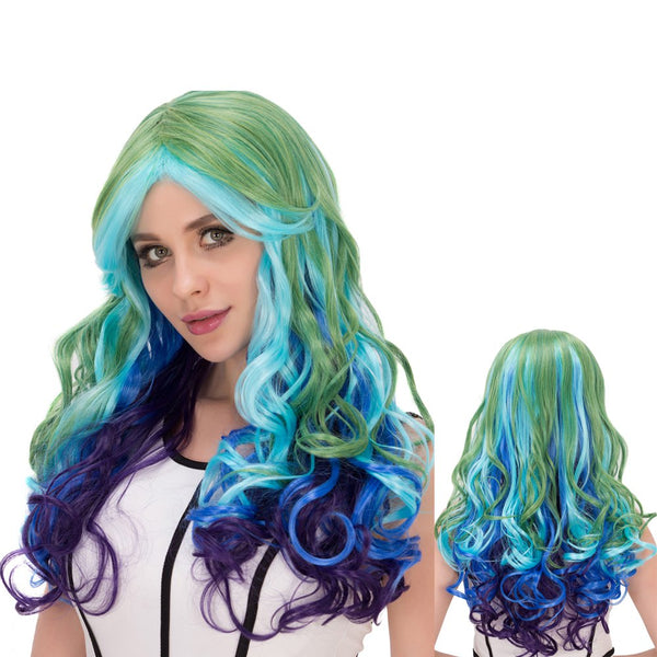 Film Character Long Wavy Colorful Centre Parting Cosplay Wig