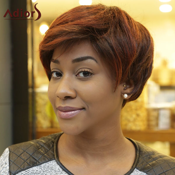 Short Fluffy Straight Inclined Bang Double Color Synthetic Wig