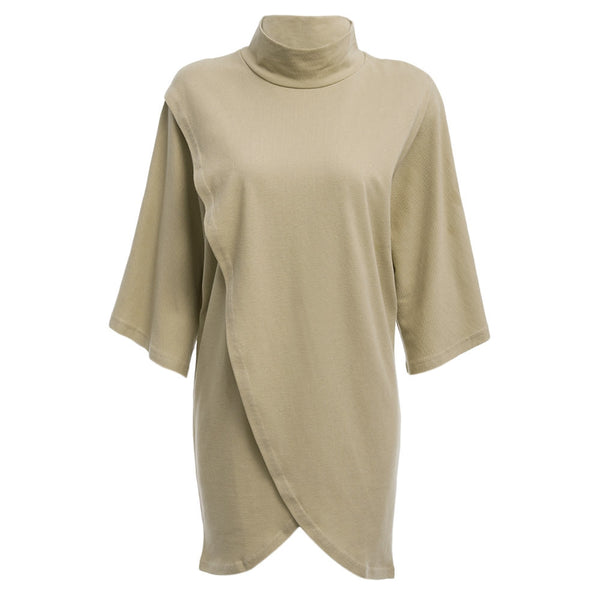 Trendy Stand Collar Half Sleeve Pure Color Asymmetrical Women Dress