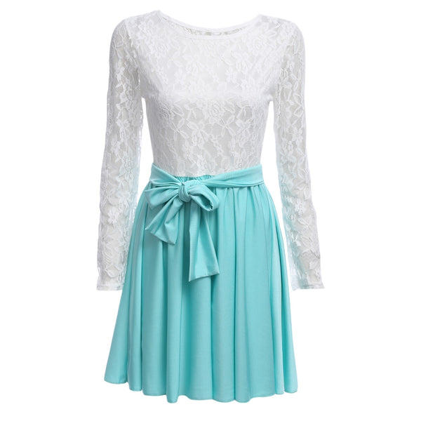 Fashion Round Collar Long Sleeve Lace Spliced Dress for Ladies