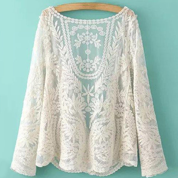 Collarless See-through Leaves Pattern Lace Long Sleeved Blouse