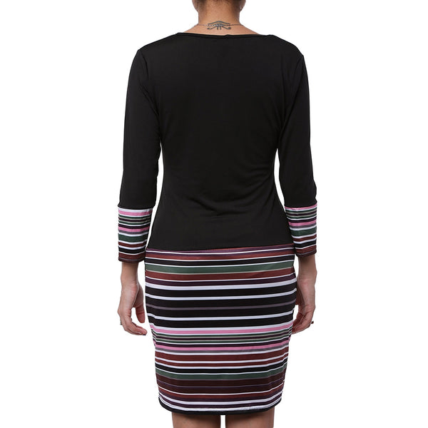 V-Neck Striped Long Sleeve Dress