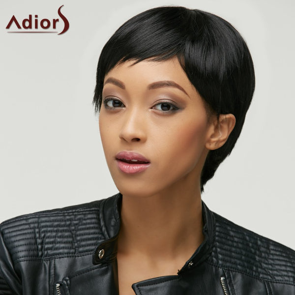 Masculine Synthetic Natural Black Ultrashort Wig For Women