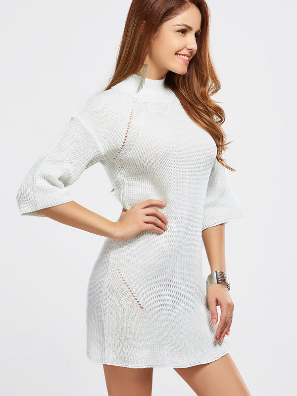High Neck Hollow Out Knitted Casual Dress