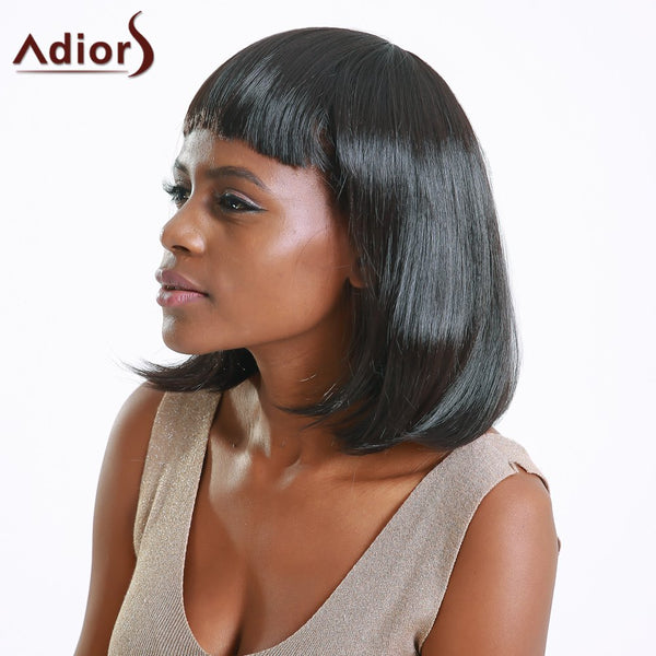 Boutique Medium Straight Full Bang Black Women's Synthetic Hair Wig