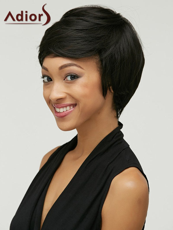 Adiors Shaggy Oblique Bang Straight Short Synthetic Wig