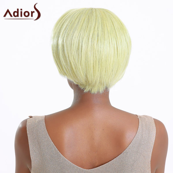 Side Bang Color Mixed Short Straight Synthetic Wig