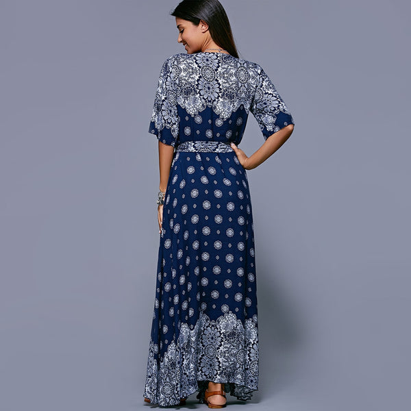 Print Belted Bohemian Maxi Dress