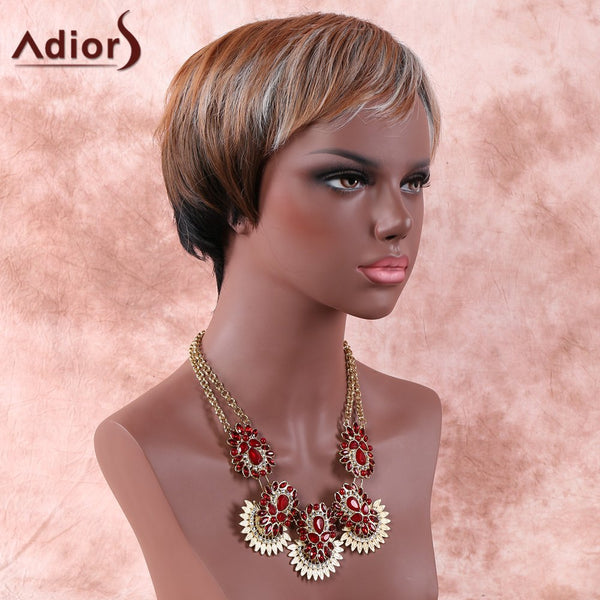 Mixed Color Fashion Short Fluffy Full Bang Adiors Synthetic Hair Wig For Women