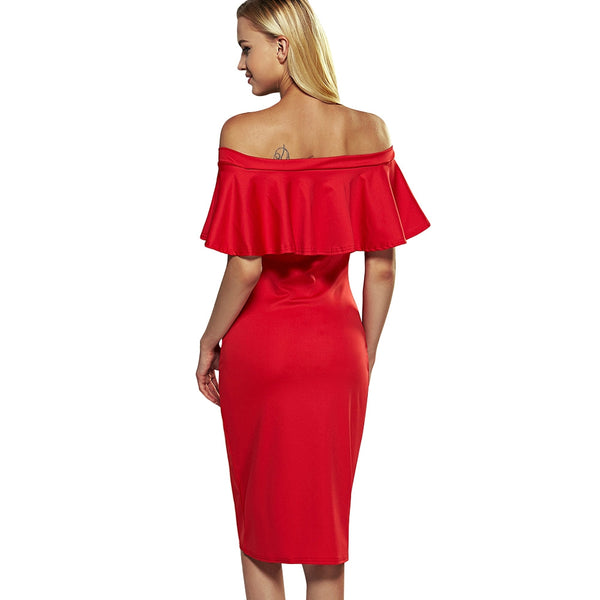 Off The Shoulder Overlay Flounce Bodycon Dress