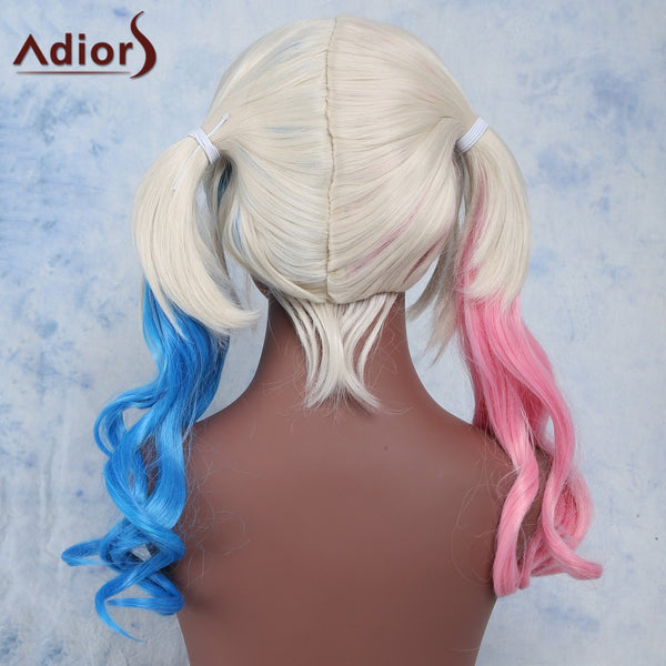 Long Wavy Centre Parting With Double Color Bunches Cosplay Synthetic Wig
