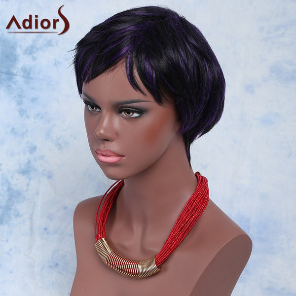 Mixed Color Fashion Short Shaggy Full Bang Adiors Synthetic Hair Wig For Women