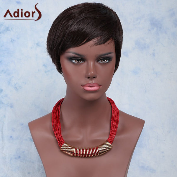Fashion Straight Short Black Brown Side Bang Synthetic Adiors Wig For Women