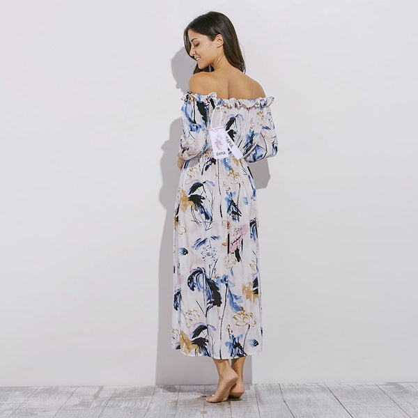 Fashionable Off The Shoulder Long Sleeve Slit Design Print Dress for Ladies