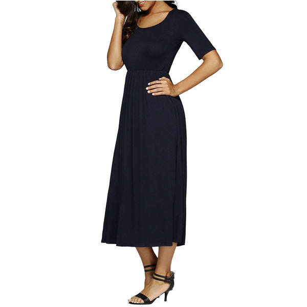 Maxi High Waist Pleated A Line Dress