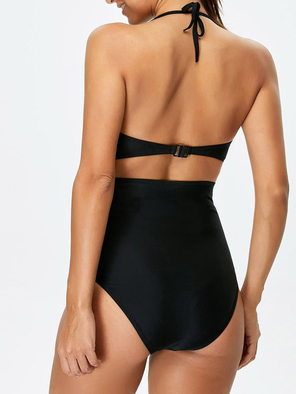 Halter Cut Out Bowknot One-Piece Swimwear