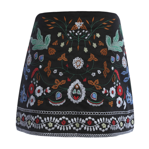 Bohemia Style Floral Embroidery Zipper Type Mini Dress for Ladies
