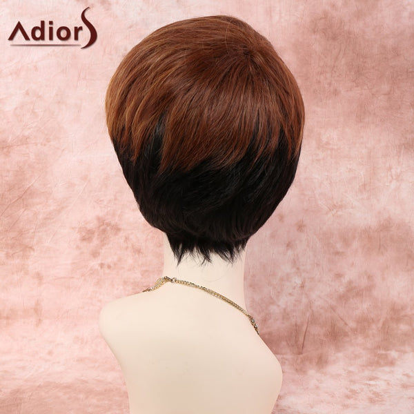 Short Straight Side Bang Colored Women's Synthetic Wig