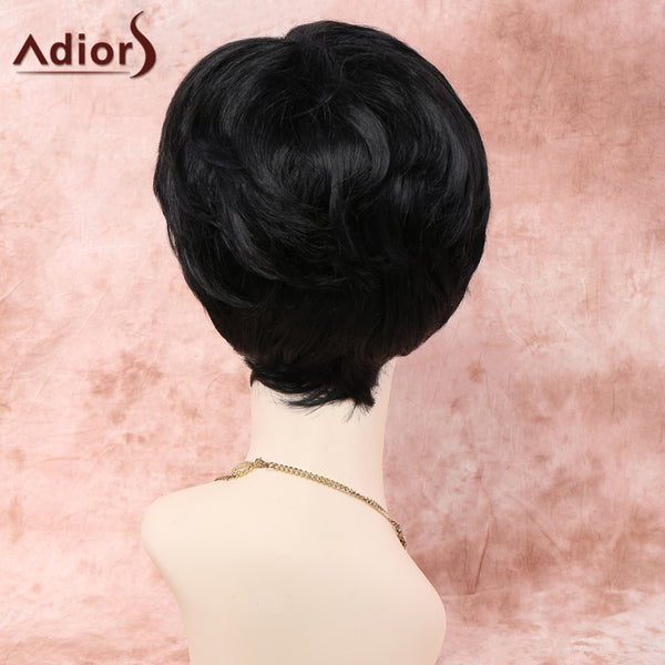 Fluffy Wave Capless Spiffy Short Haircut Black Heat Resistant Fiber Adiors Wig For Women