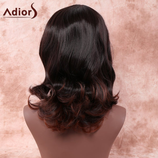 Double Color Medium Side Parting Curly Heat Resistant Fiber Wig