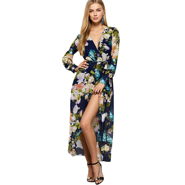 Slit Floral Surplice Long Sleeve Hawaiian Maxi Dress