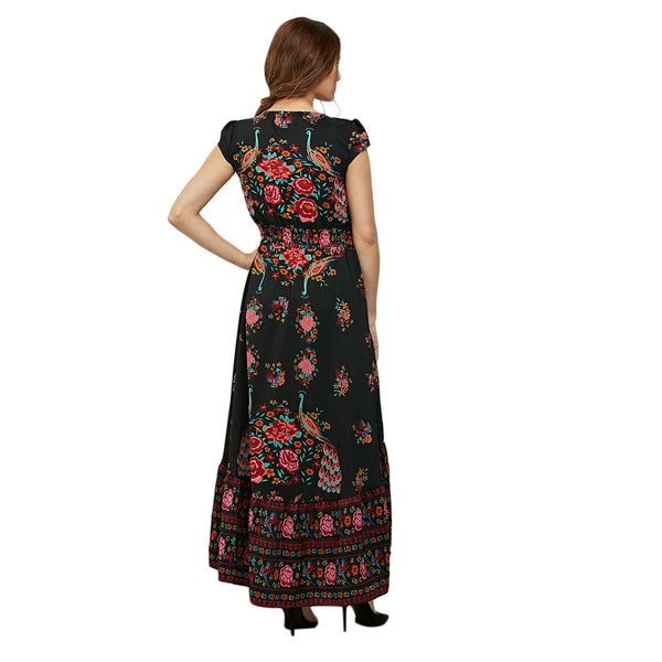 Vintage Short Sleeve V Neck Floral Print Women Dress
