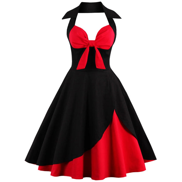 Retro Women Halter Dress