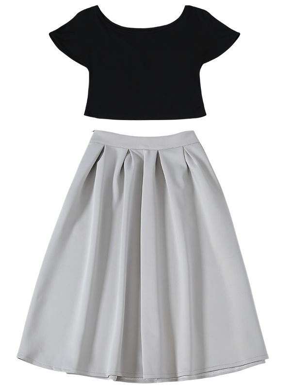 Boat Neck Cropped Two Piece Midi Dress