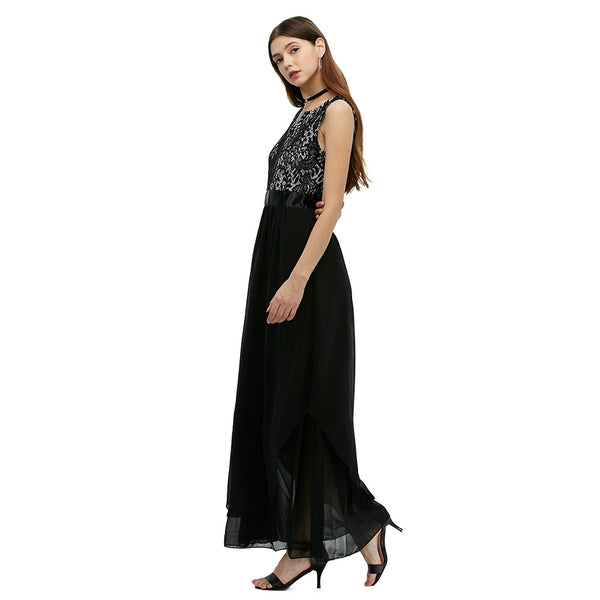 Elegant Round Collar Sleeveless Back Zipper High Waist Lace Patchwork Asymmetric Ball Gown Eveninggo